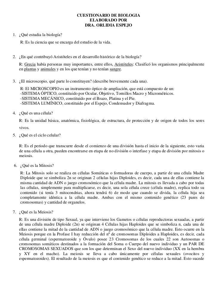 CUESTIONARIO DE BIOLOGIA<br />ELABORADO POR<br />DRA. ORLIDIA ESPEJO<br />¿Qué estudia la biología?<br />R: Es la ciencia ...