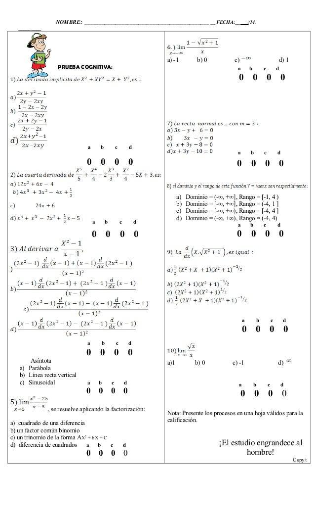 NOMBRE: ____________________________________________ __FECHA:_____/14. _________ PRUEBA COGNITIVA: a b c d 0 0 0 0 a b c d...