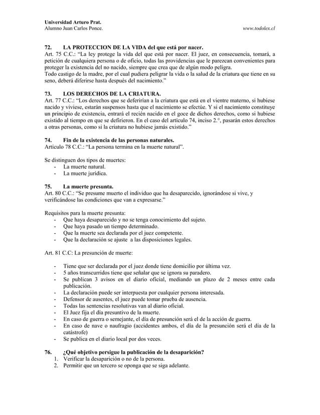 Universidad Arturo Prat. Alumno Juan Carlos Ponce. www.todolex.cl 72. LA PROTECCION DE LA VIDA del que está por nacer. Art...