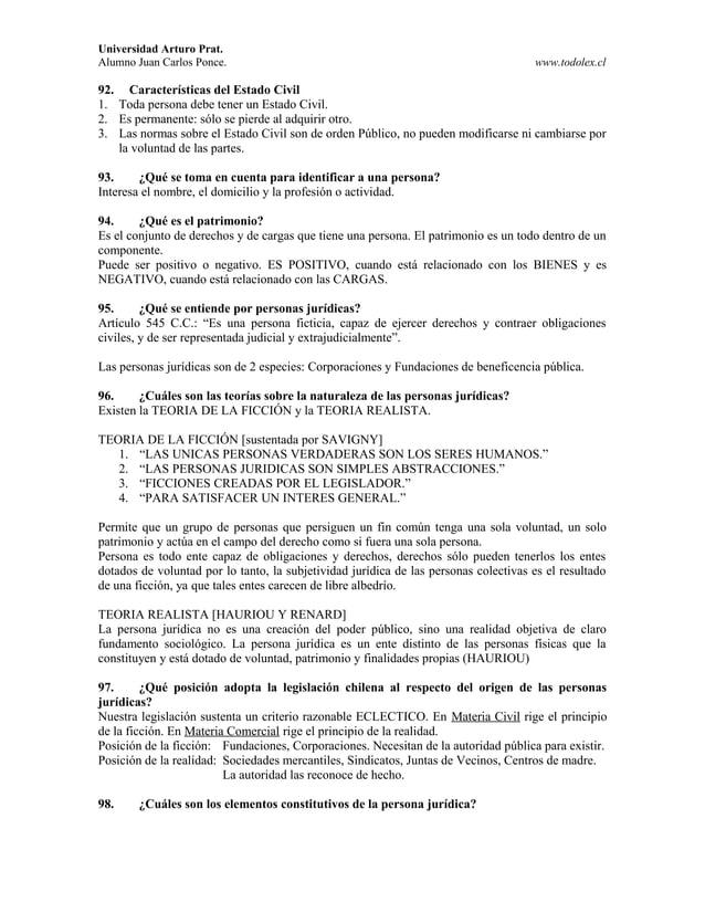 Universidad Arturo Prat. Alumno Juan Carlos Ponce. www.todolex.cl 92. Características del Estado Civil 1. Toda persona deb...