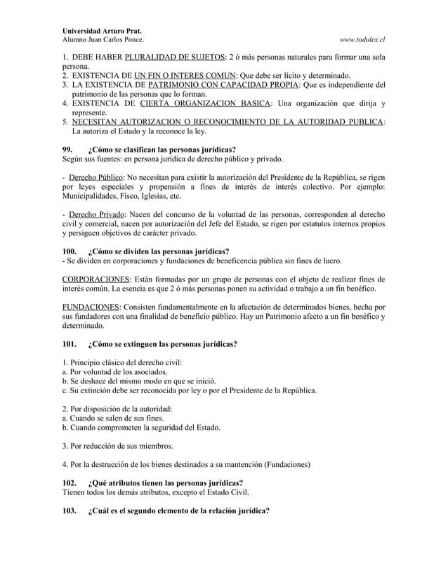 Universidad Arturo Prat. Alumno Juan Carlos Ponce. www.todolex.cl 1. DEBE HABER PLURALIDAD DE SUJETOS: 2 ó más personas na...