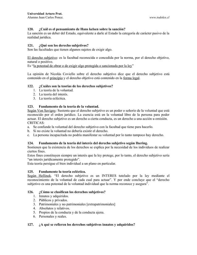 Universidad Arturo Prat. Alumno Juan Carlos Ponce. www.todolex.cl 120. ¿Cuál es el pensamiento de Hans kelsen sobre la san...
