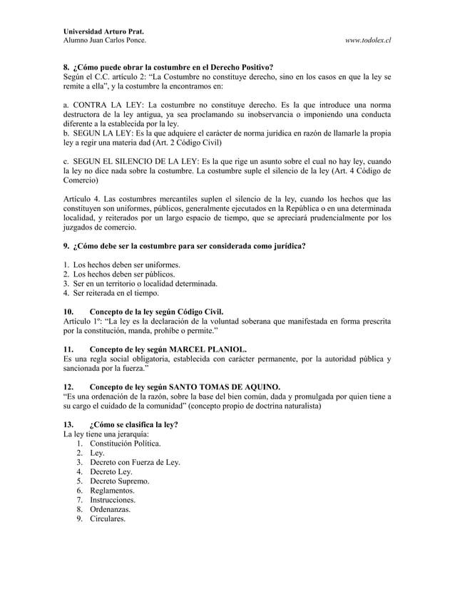 Universidad Arturo Prat. Alumno Juan Carlos Ponce. www.todolex.cl 8. ¿Cómo puede obrar la costumbre en el Derecho Positivo...