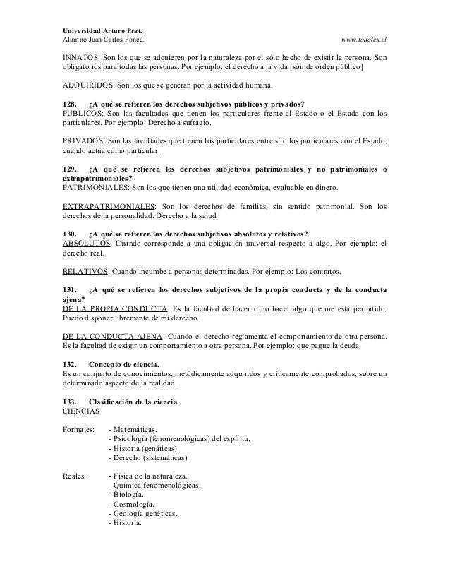 Universidad Arturo Prat. Alumno Juan Carlos Ponce. www.todolex.cl INNATOS: Son los que se adquieren por la naturaleza por ...