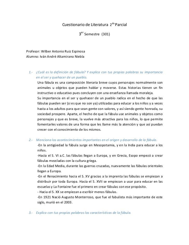 Cuestionario de Literatura 2do Parcial                                   3er Semestre (301)Profesor: Wilber Antonio Ruiz E...