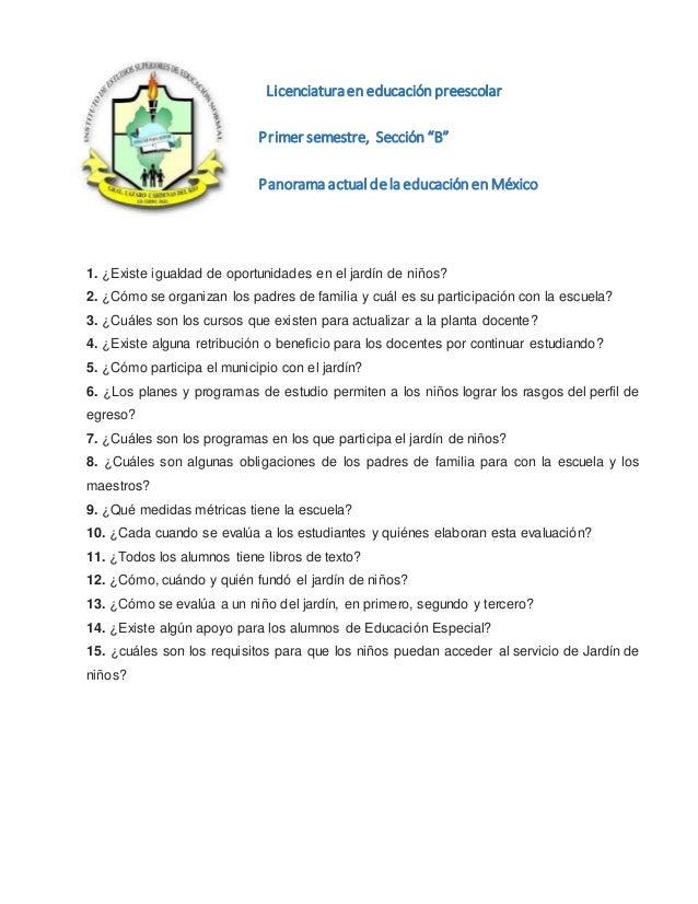Cuestionario Del Jardin