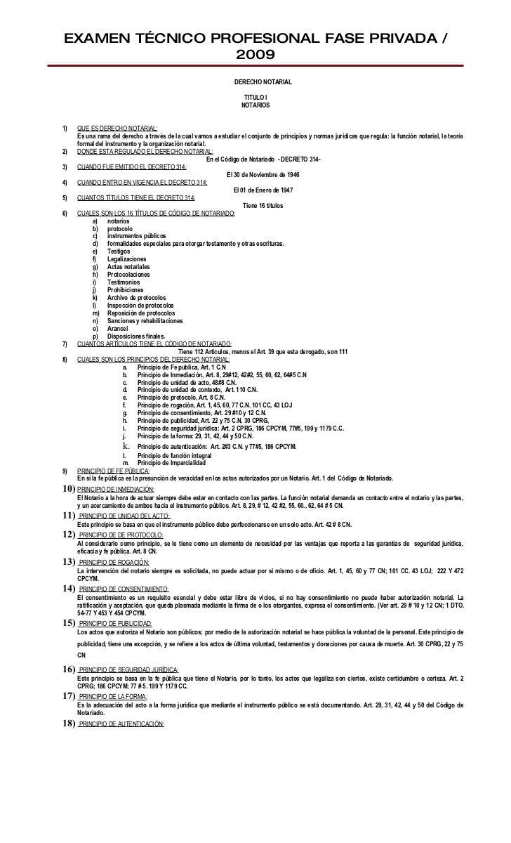EXAMEN TÉCNICO PROFESIONAL FASE PRIVADA /                  2009                                                           ...