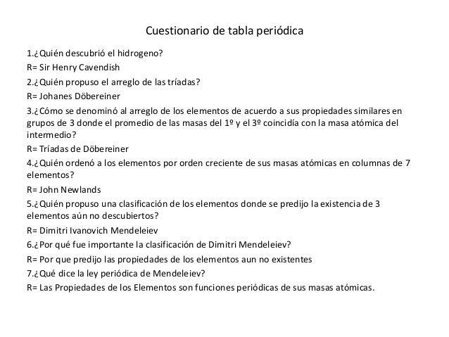 Cuestionario de tabla peridica cuestionario de tabla peridica 1quin descubri el hidrogeno urtaz Gallery