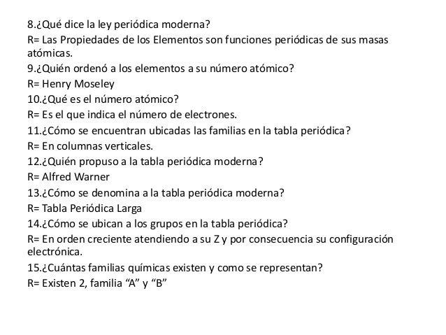 Cuestionario de tabla peridica 2 8qu dice la ley peridica moderna urtaz Choice Image