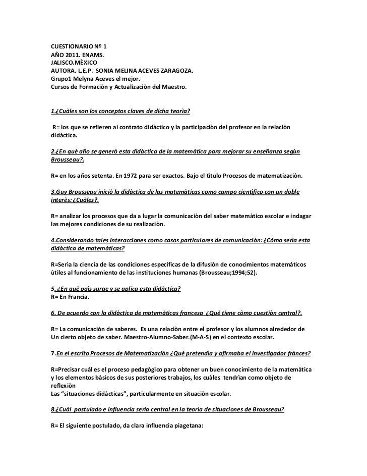 CUESTIONARIO Nº 1 AÑO 2011. ENAMS.<br />JALISCO.MÈXICOAUTORA. L.E.P.  SONIA MELINA ACEVES ZARAGOZA.<br />Grupo1 Melyna Ace...