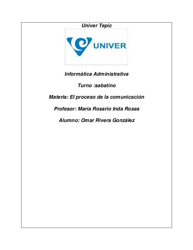 Univer Tepic Informática Administrativa Turno :sabatino Materia: El proceso de la comunicación Profesor: María Rosario Ind...