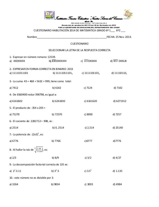 "Institución Técnica Educativa ""Nuestra Señora del Carmen"" Aguachica – Cesar REG.DANE #120011001047 - NIT # 824.004.255-9  ..."
