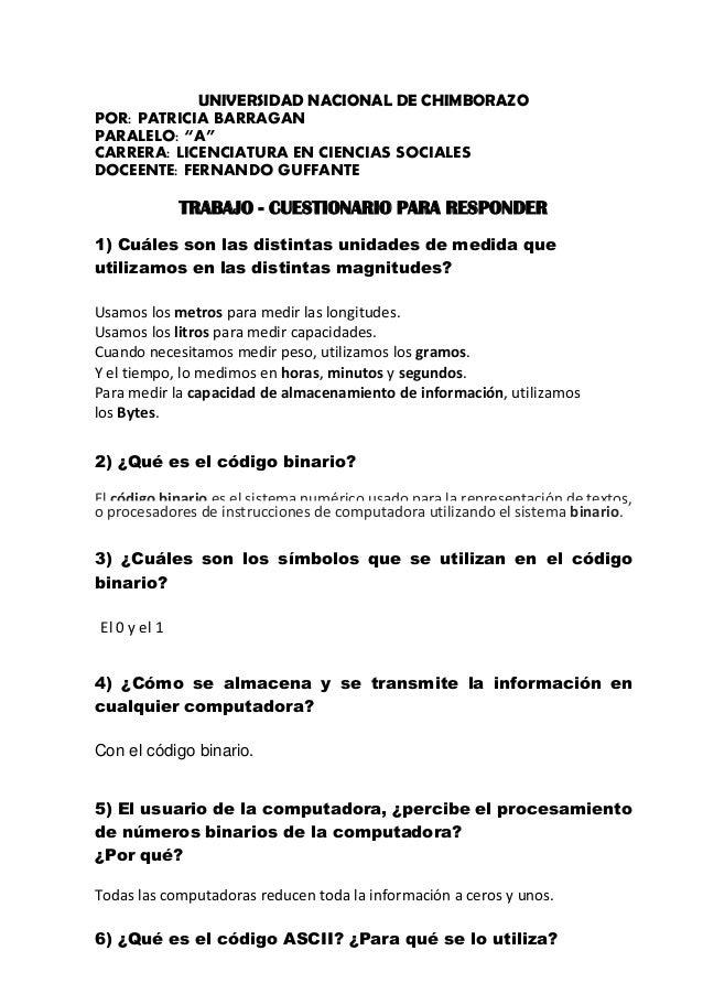 """UNIVERSIDAD NACIONAL DE CHIMBORAZO POR: PATRICIA BARRAGAN PARALELO: """"A"""" CARRERA: LICENCIATURA EN CIENCIAS SOCIALES DOCEENT..."""