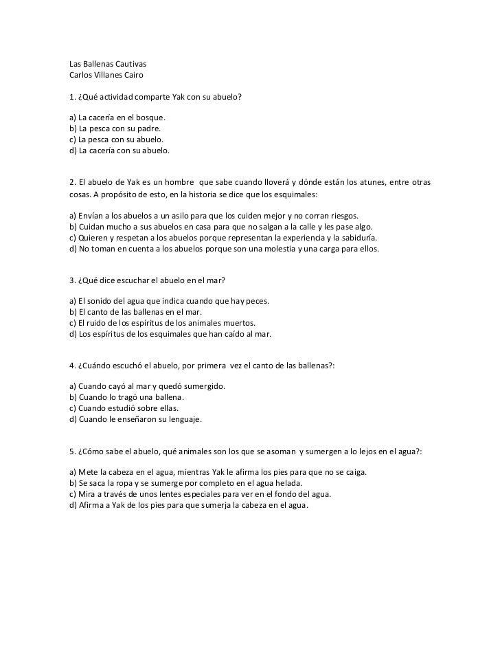 LasBallenasCautivasCarlosVillanesCairo1.¿QuéactividadcomparteYakconsuabuelo?a)Lacaceríaenelbosque.b)...