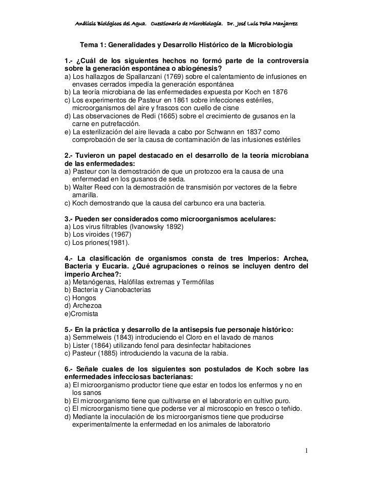 Análisis Biológicos del Agua. Cuestionario de Microbiología. Dr. José Luis Peña Manjarrez       Tema 1: Generalidades y De...