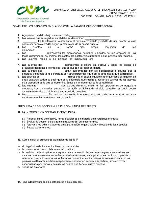 Cuestionario Niif