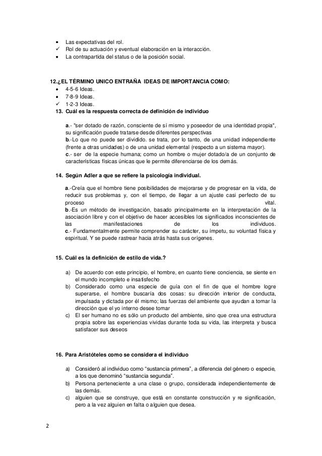 Cuestionario Psicologia Examen