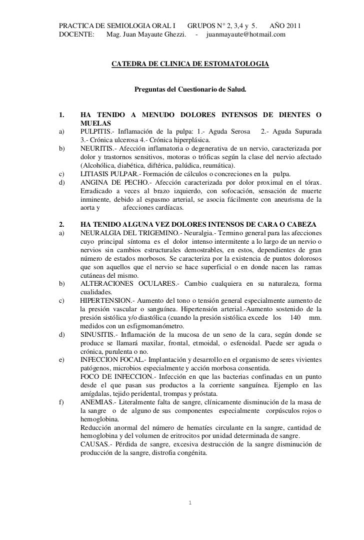 PRACTICA DE SEMIOLOGIA ORAL I        GRUPOS N° 2, 3,4 y 5. AÑO 2011DOCENTE:    Mag. Juan Mayaute Ghezzi. - juanmayaute@hot...