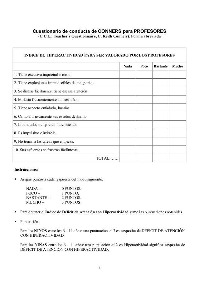 Cuestionario de conducta de CONNERS para PROFESORES (C.C.E.; Teacher`s Questionnaire, C. Keith Conners). Forma abreviada  ...