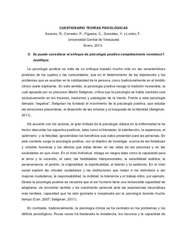 CUESTIONARIO TEORÍAS PSICOLÓGICAS                 Ascanio, R., Corredor, P., Figueira, C., González, Y. y Loreto, F.      ...