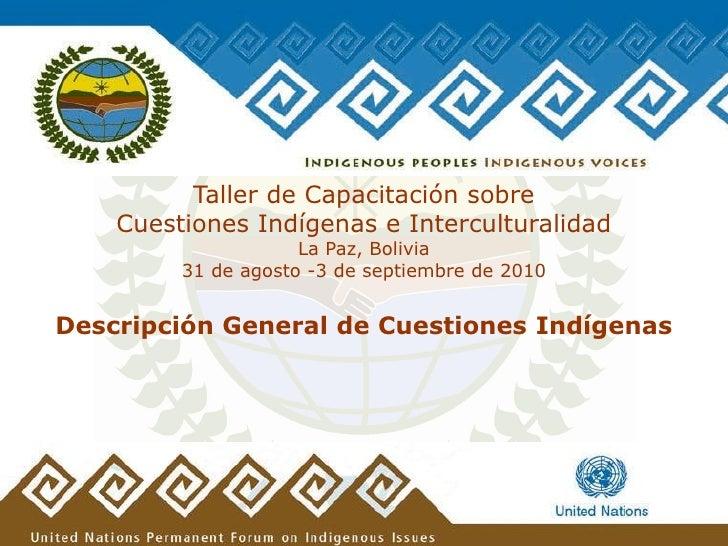 Taller de Capacitación sobre     Cuestiones Indígenas e Interculturalidad                      La Paz, Bolivia          31...