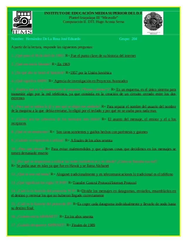 "INSTITUTO DE EDUCACIÓN MEDIA SUPERIOR DEL D.F.                                  Plantel Iztapalapa III ""Miravalle""        ..."