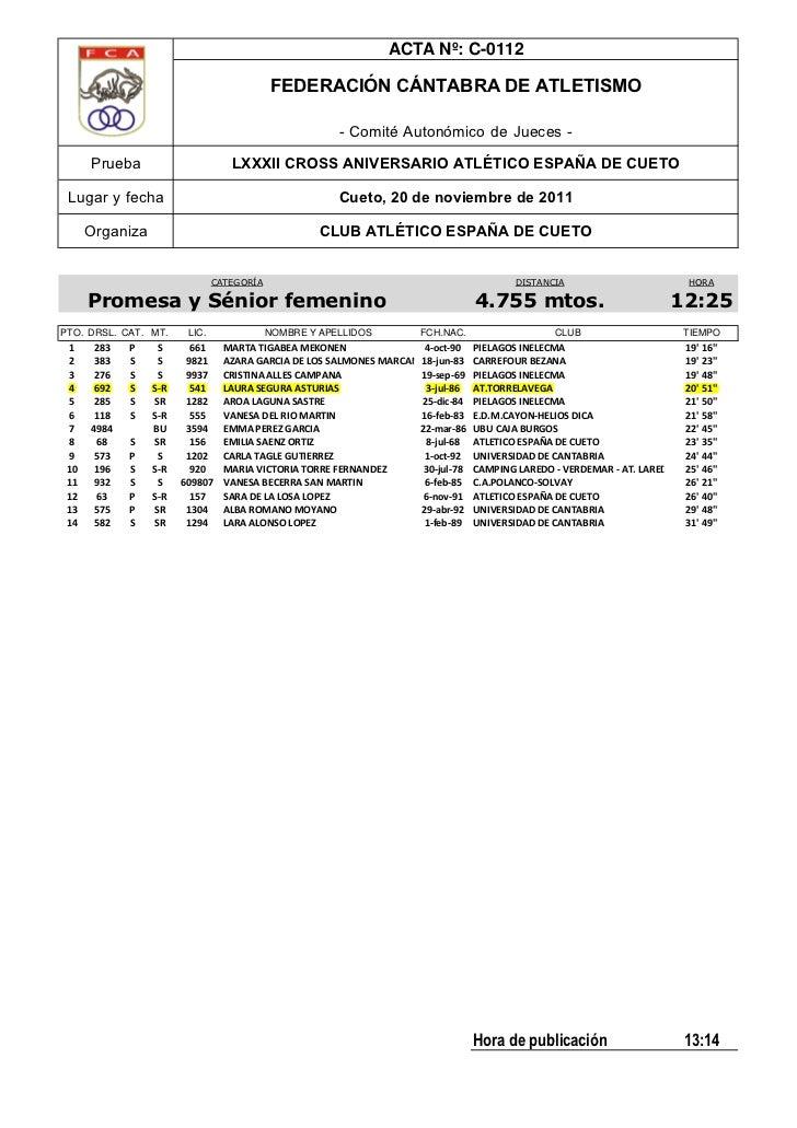 ACTA Nº: C-0112                                           FEDERACIÓN CÁNTABRA DE ATLETISMO                                ...