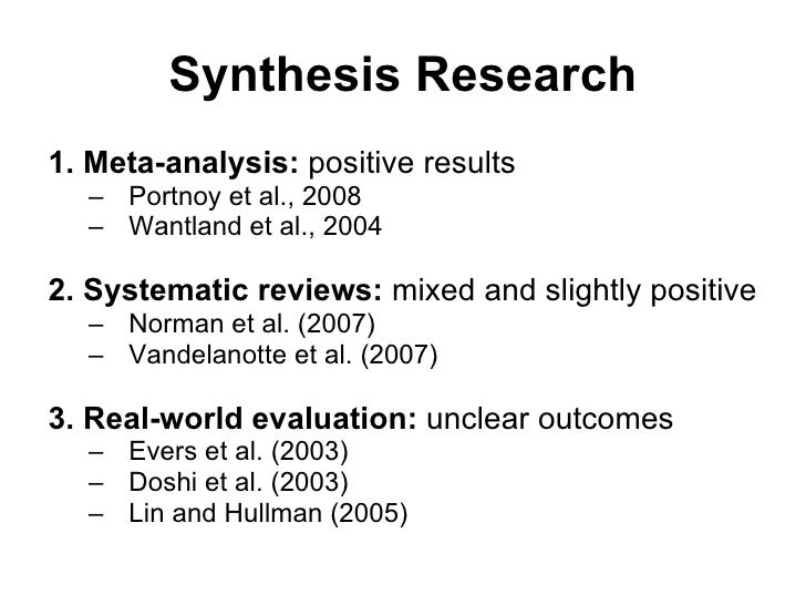 synthesising research Synthesising is a specialised skill whereby you summarise similar ideas from more than interpret and use research on a synthesising evidence in a.
