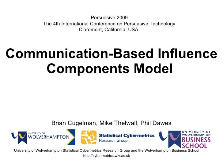 Communication-Based Influence Components Model   Brian Cugelman, Mike Thelwall, Phil Dawes University of Wolverhampton Sta...