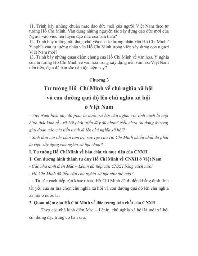 11. Trình bày những chuẩn mực đạo đức mới của người Việt Nam theo tư tưởng Hồ Chí Minh. Vận dụng những nguyên tắc xây dựng...