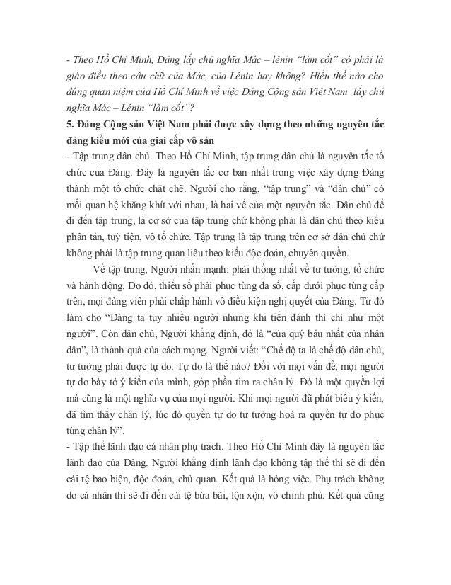 """- Theo Hồ Chí Minh, Đảng lấy chủ nghĩa Mác – lênin """"làm cốt"""" có phải là giáo điều theo câu chữ của Mác, của Lênin hay khôn..."""