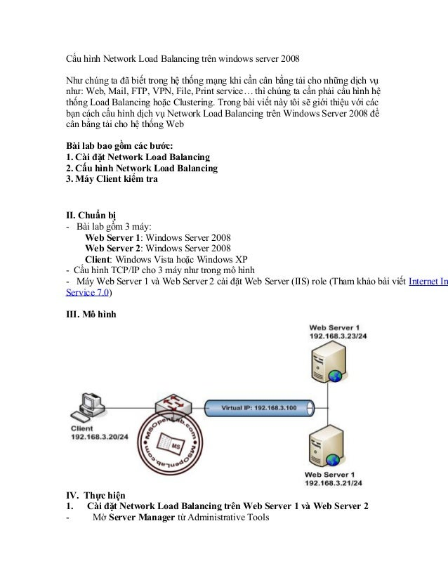 Cấu hình network load balancing trên windows server 2008