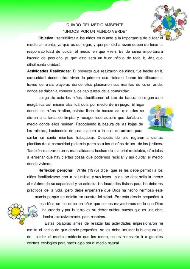 """CUIADO DEL MEDIO AMBIENTE """"UNIDOS POR UN MUNDO VERDE"""" Objetivo: sensibilizar a los niños en cuanto a la importancia de cui..."""