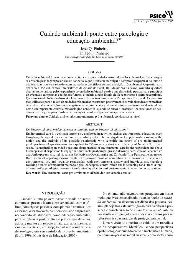 v. 38, n. 1, pp. 25-34, jan./abr. 2007 PSICOPSICO ΨΨ Cuidado ambiental: ponte entre psicologia e educação ambiental?* José...
