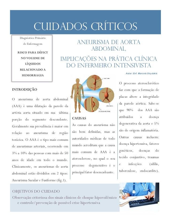 Cuidados Críticos     Diagnóstico Primário          de Enfermagem                      ANEURISMA DE AORTA   RISCO PARA DÉF...