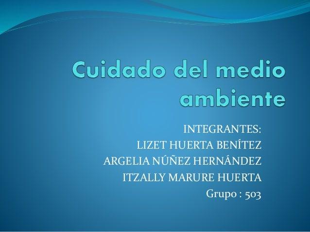 INTEGRANTES: LIZET HUERTA BENÍTEZ ARGELIA NÚÑEZ HERNÁNDEZ ITZALLY MARURE HUERTA Grupo : 503