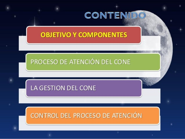 OBJETIVO Y COMPONENTES  PROCESO DE ATENCIÓN DEL CONE  LA GESTION DEL CONE  CONTROL DEL PROCESO DE ATENCIÓN