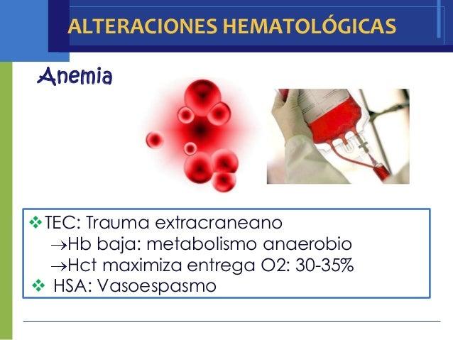 ALTERACIONES HEMATOLÓGICAS AnemiaTEC: Trauma extracraneano   Hb baja: metabolismo anaerobio   Hct maximiza entrega O2: 30...