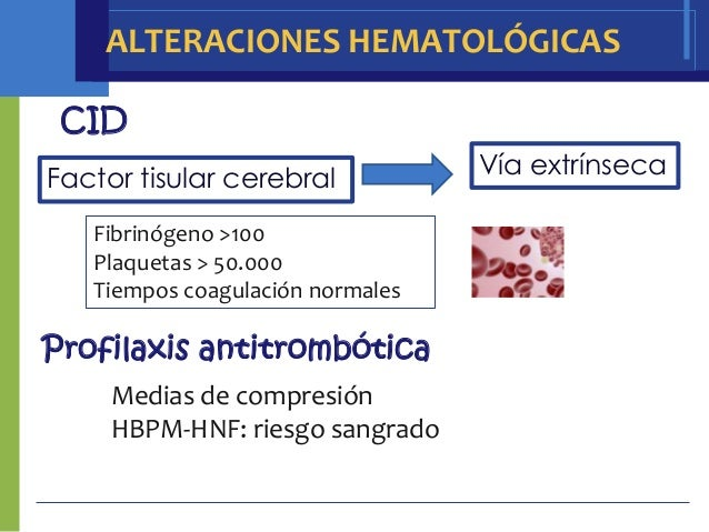 ALTERACIONES HEMATOLÓGICAS CID                                  Vía extrínsecaFactor tisular cerebral   Fibrinógeno >100  ...