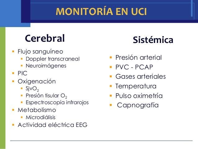 MONITORÍA EN UCI    Cerebral                             Sistémica Flujo sanguíneo   Doppler transcraneal           Pre...
