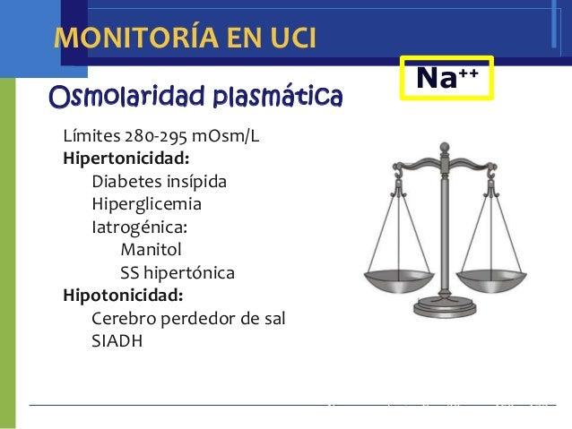 MONITORÍA EN UCI                                            Na⁺⁺Osmolaridad plasmática Límites 280-295 mOsm/L Hipertonicid...