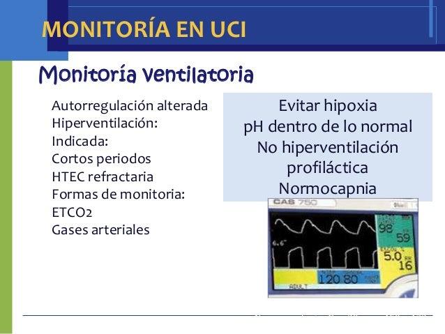 MONITORÍA EN UCIMonitoría ventilatoria Autorregulación alterada       Evitar hipoxia Hiperventilación:          pH dentro ...