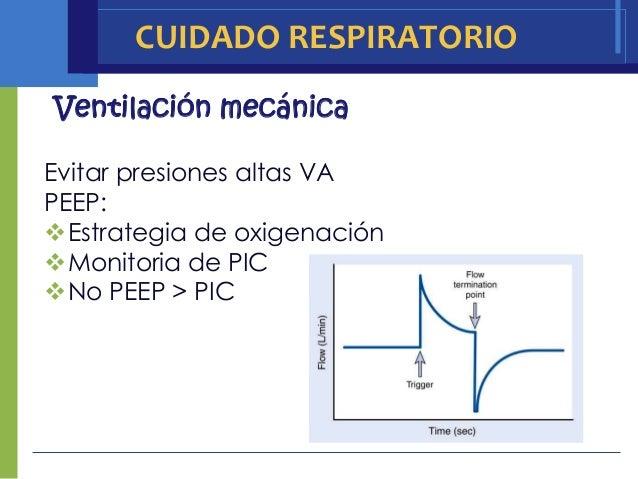 CUIDADO RESPIRATORIOVentilación mecánicaEvitar presiones altas VAPEEP:Estrategia de oxigenaciónMonitoria de PICNo PEEP ...
