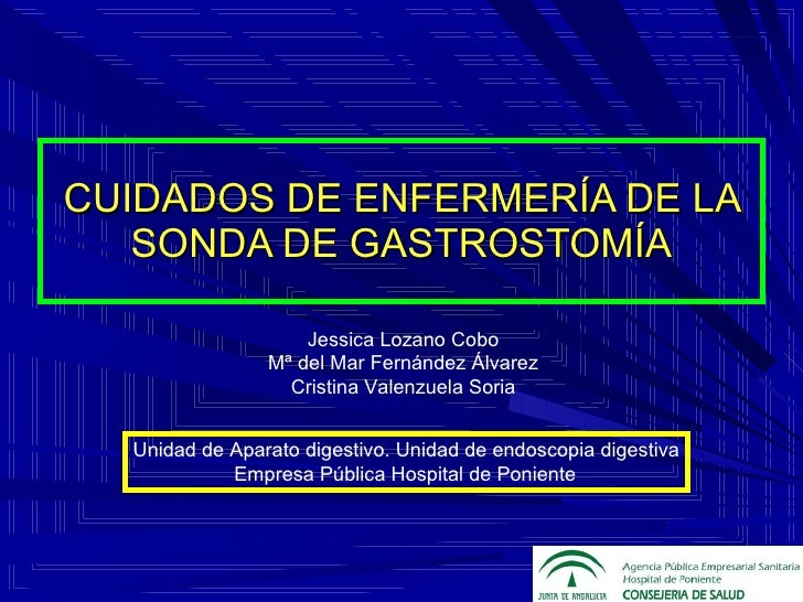 CUIDADOS DE ENFERMERÍA DE LA SONDA DE GASTROSTOMÍA Unidad de Aparato digestivo. Unidad de endoscopia digestiva Empresa Púb...
