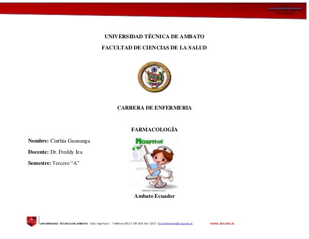 UNIVERSIDAD TÉCNICA DE AMBATO Cdla. Ingahurco Teléfono (03) 3 730 268 Ext. 5215 fcs.enfermeria@uta.edu.ec www.uta.edu.ec F...