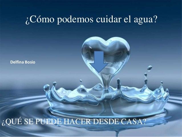 ¿Cómo podemos cuidar el agua? ¿QUÉ SE PUEDE HACER DESDE CASA? Delfina Bosio