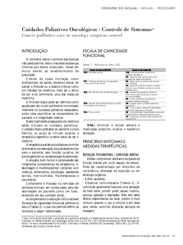 CONDUTAS DO INCA/MS / INCA/MS – PROCEDURES  Cuidados Paliativos Oncológicos - Controle de Sintomas* Cancer palliative care...