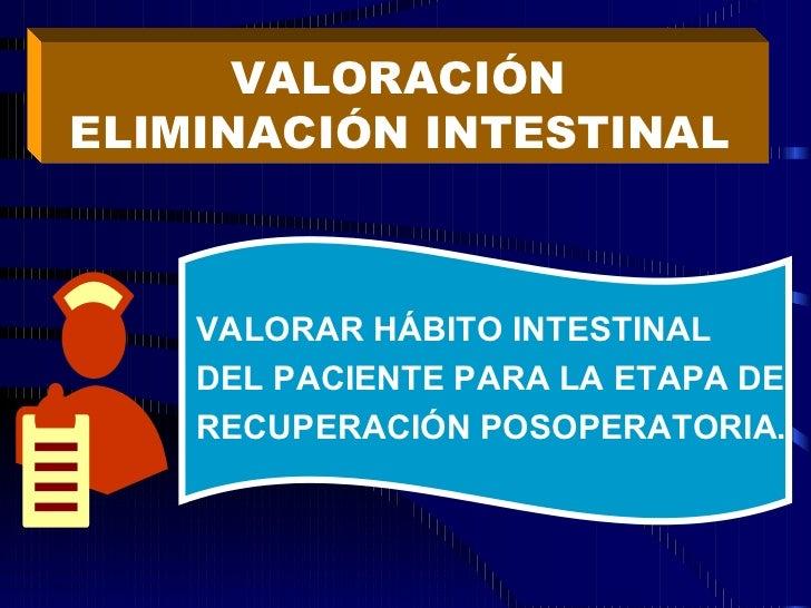 VALORACIÓN  ELIMINACIÓN INTESTINAL   VALORAR HÁBITO INTESTINAL DEL PACIENTE PARA LA ETAPA DE RECUPERACIÓN POSOPERATORIA.