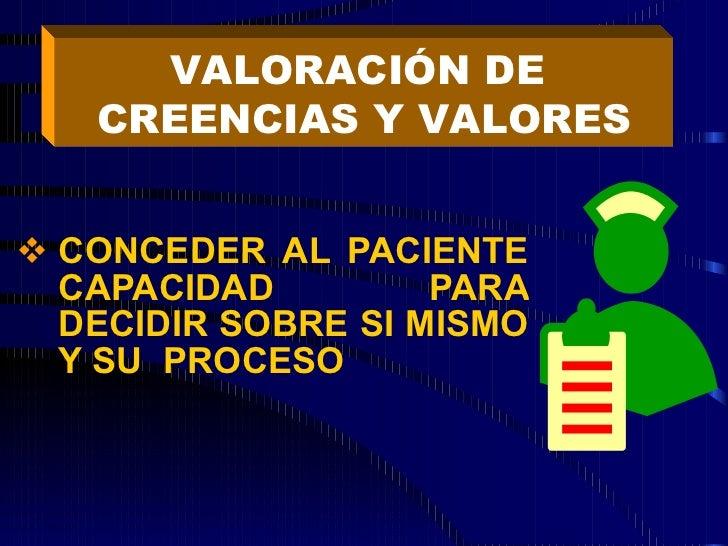 <ul><li>CONCEDER AL PACIENTE CAPACIDAD PARA DECIDIR SOBRE SI MISMO Y SU  PROCESO </li></ul>VALORACIÓN DE  CREENCIAS Y VALO...