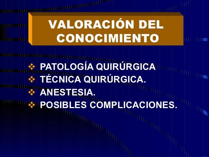 <ul><li>PATOLOGÍA QUIRÚRGICA </li></ul><ul><li>TÉCNICA QUIRÚRGICA.  </li></ul><ul><li>ANESTESIA. </li></ul><ul><li>POSIBLE...